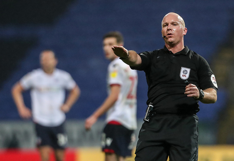 Referee Simon Hooper <br /> <br /> Photographer Andrew Kearns/CameraSport<br /> <br /> The EFL Sky Bet Championship - Bolton Wanderers v Wigan Athletic - Saturday 1st December 2018 - University of Bolton Stadium - Bolton<br /> <br /> World Copyright © 2018 CameraSport. All rights reserved. 43 Linden Ave. Countesthorpe. Leicester. England. LE8 5PG - Tel: +44 (0) 116 277 4147 - admin@camerasport.com - www.camerasport.com
