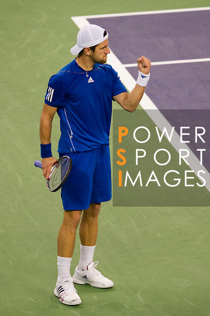 SHANGHAI, CHINA - OCTOBER 14:  Jurgen Melzer of Austria celebrates a point to Rafael Nadal of Spain during day four of the 2010 Shanghai Rolex Masters at the Shanghai Qi Zhong Tennis Center on October 14, 2010 in Shanghai, China.  (Photo by Victor Fraile/The Power of Sport Images) *** Local Caption *** Jurgen Melzer