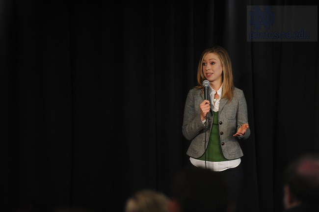Mar. 26, 2008; Chelsea Clinton speaks to a group of students, faculty and staff at Legends on behalf of her mother, Senator Hillary Clinton.