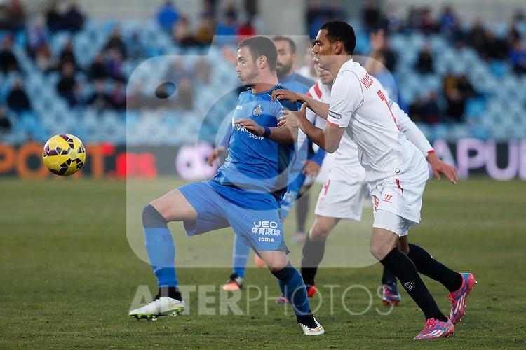 Getafe´s Alvaro (L) and Sevilla´s Kolo during 2014-15 La Liga match at Alfonso Perez Coliseum stadium in Getafe, Spain. February 08, 2015. (ALTERPHOTOS/Victor Blanco)
