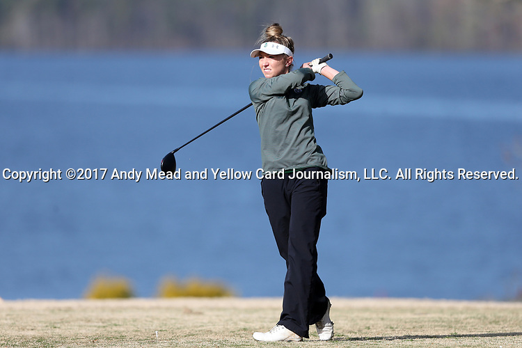 BROWNS SUMMIT, NC - APRIL 02: Colorado State's Brianna Becker tees off on the 16th hole. The third round of the Bryan National Collegiate Women's Golf Tournament was held on April 2, 2017, at the Bryan Park Champions Course in Browns Summit, NC.
