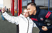Bolton Wanderers' Pawel Olkowski poses for a selfie with a supporter <br /> <br /> Photographer Andrew Kearns/CameraSport<br /> <br /> The EFL Sky Bet Championship - Bolton Wanderers v Preston North End - Saturday 9th February 2019 - University of Bolton Stadium - Bolton<br /> <br /> World Copyright © 2019 CameraSport. All rights reserved. 43 Linden Ave. Countesthorpe. Leicester. England. LE8 5PG - Tel: +44 (0) 116 277 4147 - admin@camerasport.com - www.camerasport.com
