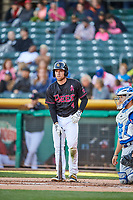 Nolan Fontana (4) of the Salt Lake Bees bats against the Iowa Cubs in Pacific Coast League action at Smith's Ballpark on May 13, 2017 in Salt Lake City, Utah. Salt Lake defeated Iowa  5-4. (Stephen Smith/Four Seam Images)
