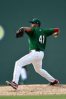 Starting pitcher Denyi Reyes (41) of the Greenville Drive delivers a pitch in a game against the Asheville Tourists on Sunday, June 3, 2018, at Fluor Field at the West End in Greenville, South Carolina. Greenville won, 7-6. (Tom Priddy/Four Seam Images)