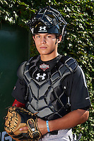 Catcher Alex Jackson (10) of Rancho Bernardo High School in Escondido, California poses for a photo before the Under Armour All-American Game on August 24, 2013 at Wrigley Field in Chicago, Illinois.  (Mike Janes/Four Seam Images)