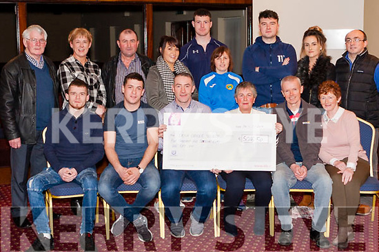 The Harnett family , friends &amp; various club members pictured with the  cheque (&euro;5016.50) from the proceeds of the Dee Harnett Memorial Walk/Run which was held on St. Stephen&rsquo;s Day. All proceeds go to  the Irish Cancer Society.<br /> Seated: Tristian Harnett Dee&rsquo;son, Keith Harnett Dee&rsquo;s son, Gerard O&rsquo; Connor Organiser, Sheila Harnett ( Dee&rsquo;s Wife), Frank Nelligan Rep. Abbeyfeale United, Mary Lane Dee&rsquo;s sister.<br /> Back: Liam O&rsquo; Connor, Bridget Daughton, Mike Lane, Gillian Murphy, Mich&eacute;al Roche Rep. Abbeyfeale Rugby Club, *Kathleen Broderick , Conor Cross, Loraine Fitzmaurice, J.D. Foley Rep. Fr. Casey&rsquo;s GAA.