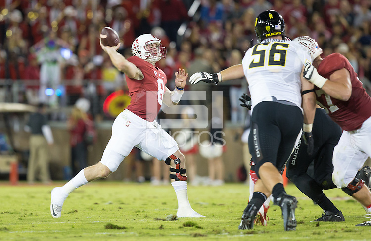 Stanford, CA - November 14, 2015: Stanford vs University of Oregon football game at Stanford Stadium. The Ducks won 38-36.