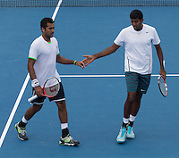 ROHAN BOPANNA (IND), AISAM-UL-HAQ QURESHI (PAK)<br /> Tennis - Australian Open - Grand Slam -  Melbourne Park -  2014 -  Melbourne - Australia  - 18th January 2014. <br /> <br /> &copy; AMN IMAGES, 1A.12B Victoria Road, Bellevue Hill, NSW 2023, Australia<br /> Tel - +61 433 754 488<br /> <br /> mike@tennisphotonet.com<br /> www.amnimages.com<br /> <br /> International Tennis Photo Agency - AMN Images
