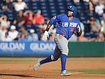 Las Vegas 51s' Brandon Allen rounds second base in a game against the Reno Aces in Reno, Nev., on Sunday, July 26, 2015.<br /> Photo by Cathleen Allison