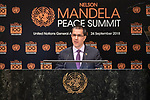 Opening Plenary Meeting of the Nelson Mandela Peace Summit<br /> <br /> His Excellency Jorge ARREAZA MONTSERRATMinister of the People's Power for Foreign Affairs of theBolivarian Republic of Venezuela(on behalf of the Non-Aliegned Movement