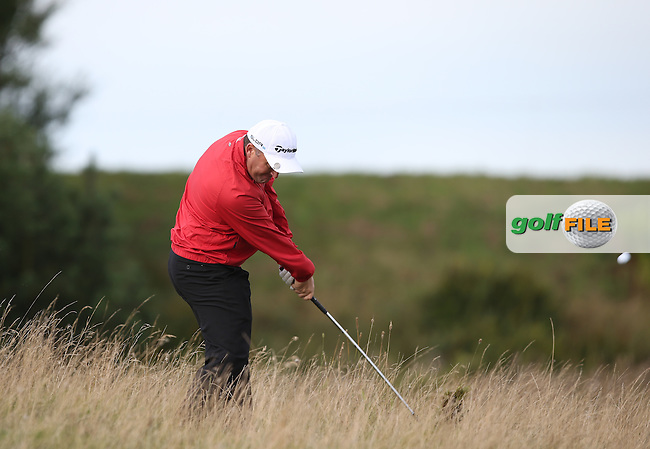 Damien McGrane (IRL) tastes the hay during the Made in Denmark 2014 Pro-Am from the Himmerland Golf & Spa Resort, Aalborg, Denmark. Picture:  David Lloyd / www.golffile.ie