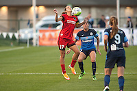 Kansas City, Mo. - Saturday April 23, 2016: Portland Thorns FC midfielder Tobin Heath (17) attempts to control the ball off her chest during a match against FC Kansas City at Swope Soccer Village. The match ended in a 1-1 draw.