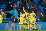 Players of Villarreal CF celebrates his side's goal during the La Liga 2017-18 match between Real Madrid and Villarreal CF at Santiago Bernabeu Stadium on January 13 2018 in Madrid, Spain. Photo by Diego Gonzalez / Power Sport Images