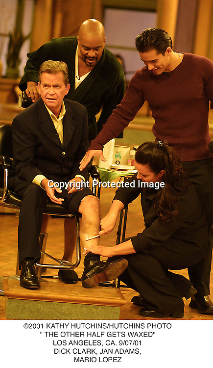 "©2001 KATHY HUTCHINS/HUTCHINS PHOTO."" THE OTHER HALF GETS WAXED"".LOS ANGELES, CA. 9/07/01.DICK CLARK, JAN ADAMS,.MARIO LOPEZ"