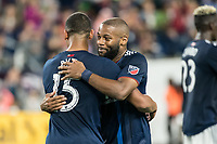 FOXBOROUGH, MA - SEPTEMBER 29: Brandon Bye #15 of New England Revolution and Andrew Farrell #2 of New England Revolution celebrate winning the game during a game between New York City FC and New England Revolution at Gillettes Stadium on September 29, 2019 in Foxborough, Massachusetts.