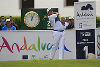 Ashley Chesters (ENG) tees off the 1st tee during Sunday's storm delayed Final Round 3 of the Andalucia Valderrama Masters 2018 hosted by the Sergio Foundation, held at Real Golf de Valderrama, Sotogrande, San Roque, Spain. 21st October 2018.<br /> Picture: Eoin Clarke | Golffile<br /> <br /> <br /> All photos usage must carry mandatory copyright credit (&copy; Golffile | Eoin Clarke)