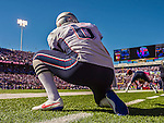 12 October 2014: New England Patriots punter Ryan Allen takes a practice snap on the sidelines during a game against the Buffalo Bills at Ralph Wilson Stadium in Orchard Park, NY. The Patriots defeated the Bills 37-22 to move into first place in the AFC Eastern Division. Mandatory Credit: Ed Wolfstein Photo *** RAW (NEF) Image File Available ***