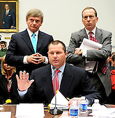 "Washington, DC - February 13, 2008 -- Attorneys Rusty Hardin, upper left, and Lanny Breuer, upper right, take exception to some questioning by Henry Waxman (Democrat of California), Chairman, United States House of Representatives Committee on Government Operations and Reform (not pictured), during the testimony of Roger Clemens, former New York Yankee pitcher, lower center, on ""The Mitchell Report: The Illegal use of Steroids in Major League Baseball, Day 2""  concerning alleged use of steroids and human growth hormone (HGH) by Clemens and several other major league players in Washington, D.C. on Wednesday, February 13, 2008.  .Credit: Ron Sachs / CNP.(RESTRICTION: NO New York or New Jersey Newspapers or newspapers within a 75 mile radius of New York City)"