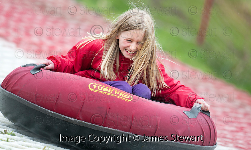 Tubing at the Open Day at Polmonthill Ski Centre..
