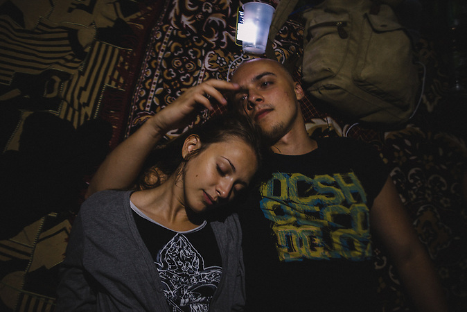 Alexander and Katrine lying down during their last night before Alexanders millitary service. Ribnita, Transnistria