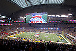 A general view of Cowboys Stadium as recording artist Christina Aguilera sings the National Anthem prior to the Pittsburgh Steelers Super Bowl XLV football game against the Green Bay Packers on Sunday, February 6, 2011, in Arlington, Texas. The Packers won 31-25. (AP Photo/David Stluka)