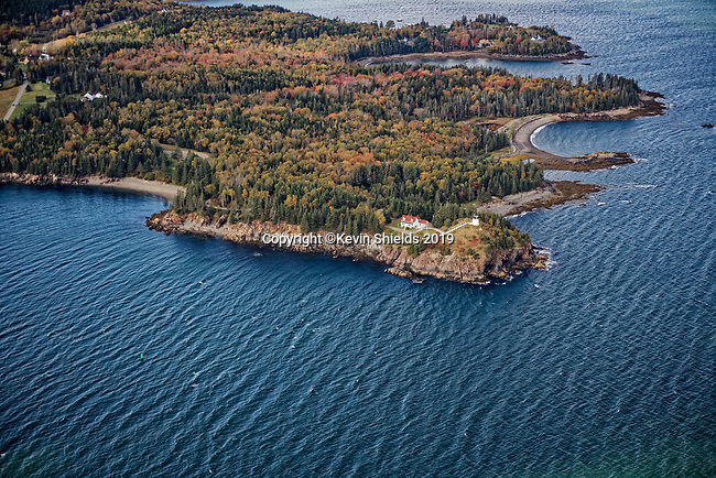Aerial view of Owls Head, Knox County, Maine, USA