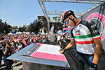 Italian National Champion Fabio Aru (ITA) UAE Team Emirates at sign on before the start of Stage 18 of the 2018 Giro d'Italia, running 196km from Abbiategrasso to Prato Nevoso, Italy. 24th May 2018.<br />