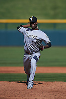 Glendale Desert Dogs pitcher Robinson Leyer (73) delivers a pitch during an Arizona Fall League game against the Mesa Solar Sox on October 14, 2015 at Sloan Park in Mesa, Arizona.  Glendale defeated Mesa 7-6.  (Mike Janes/Four Seam Images)