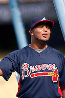 Andruw Jones of the Atlanta Braves during batting practice before a game from the 2007 season at Dodger Stadium in Los Angeles, California. (Larry Goren/Four Seam Images)