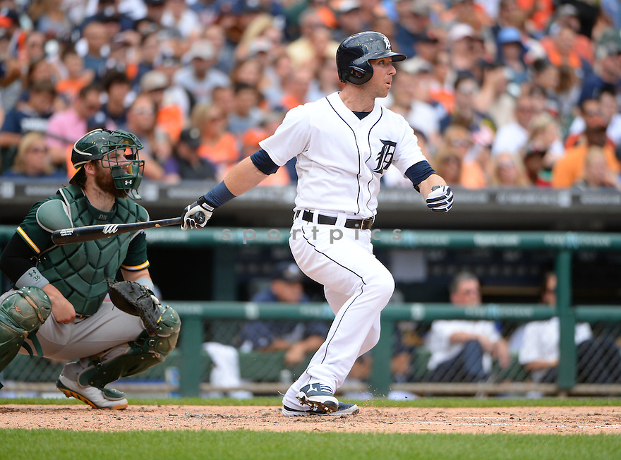 Detroit Tigers Andrew Romine (27) during a game against the Oakland A's on July 2, 2014 at Comerica Park in Detroit, MI. The Tigers beat the A's 9-3.