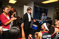 6 April 2008: Stanford Cardinal head coach Tara VanDerveer and Candice Wiggins during Stanford's 82-73 win against the Connecticut Huskies in the 2008 NCAA Division I Women's Basketball Final Four semifinal game at the St. Pete Times Forum Arena in Tampa Bay, FL.