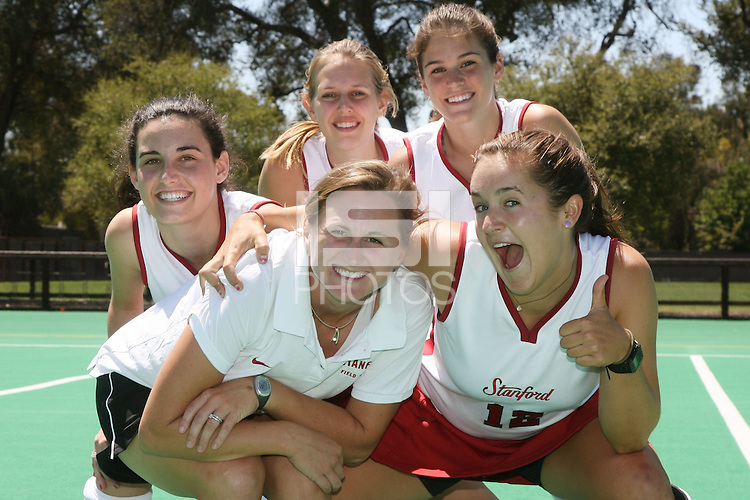 9 August 2007: Caroline Hussey, Chloe Bade, Hillary Braun, Jordan Steele Marotta and Bailey Richardson during picture day at the field hockey field in Stanford, CA.