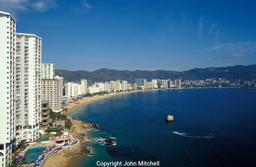 Highrise hotels lining Acapulco Bay, Acapulco, Mexico