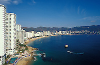 Highrise hotels lining Acapulco Bay, Acapulco, Mexico