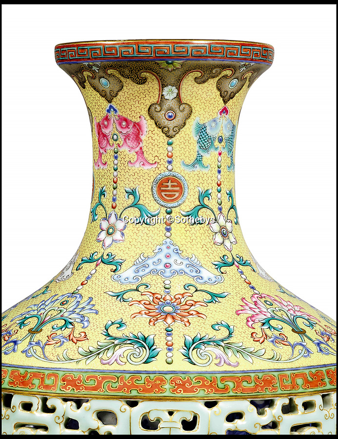 BNPS.co.uk (01202 558833)<br /> Pic: Sothebys/BNPS<br /> <br /> The rediscovered vase.<br /> <br /> A 'lost' Chinese vase has sold for a whopping £14.6m - eight years after its matching twin went under the hammer at a British auction house for £43m.<br /> <br /> It means the identical pair of 16ins tall antiques are worth a combined £57.6m.<br /> <br /> The first 18th century Qianlong vase took the antiques world by storm after solicitor Tony Johnson and his mother Gene offered it for sale in 2010.<br /> <br /> The 16ins item sold for the astonishing sum to a wealthy Chinese collector.<br /> <br /> Now its missing pair, that had been kept in the same family for 90 years, has sold.