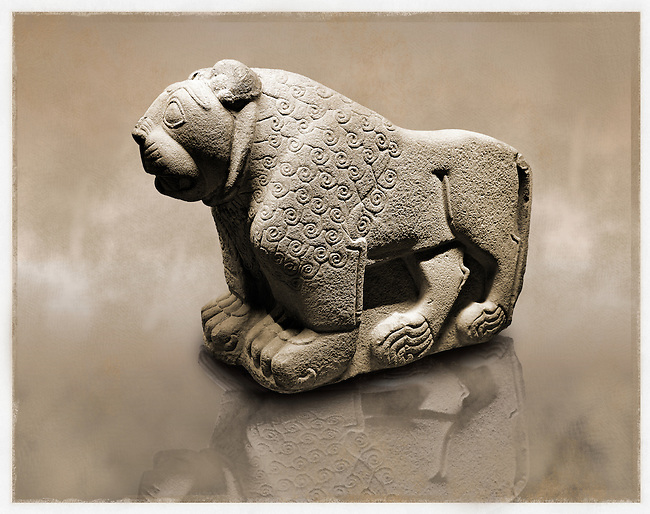 Picture & image of a Hittite Sculpture of a Lion Fron the Gate To Aslantepe, Malatya Province Turkey. Museum of Anatolian Civilisations, Ankara.
