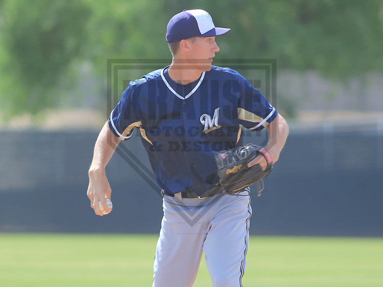 MARYVALE - March 2015: Donnie Hissa of the Milwaukee Brewers during a spring training workout on March 26th, 2015 at Maryvale Baseball Park in Mesa, Arizona. (Photo Credit: Brad Krause)