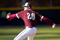 Relief pitcher Casey Lucchese #26 of the College of Charleston Cougars in action against the Davidson Wildcats at Wilson Field on March 12, 2011 in Davidson, North Carolina.  The Wildcats defeated the Cougars 8-3.  Photo by Brian Westerholt / Four Seam Images