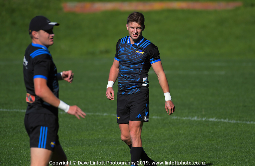 Jordie and Beauden Barrett. Hurricanes Super Rugby training at Rugby League Park in Wellington, New Zealand on Thursday, 25 April 2019. Photo: Dave Lintott / lintottphoto.co.nz