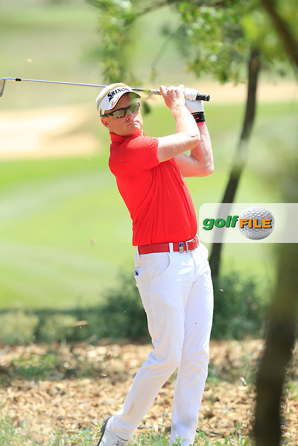 Simon Dyson (ENG) in the rough on the 2nd during Round 2 of the Open de Espana  in Club de Golf el Prat, Barcelona on Friday 15th May 2015.<br /> Picture:  Thos Caffrey / www.golffile.ie