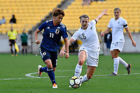 Japan&rsquo;s Mina Tanaka and Ferns&rsquo; Meikayta Moore in action during the  International Football - Football Ferns v Japan  at Westpac Stadium, Wellington, New Zealand on Sunday 10 June 2018.<br /> Photo by Masanori Udagawa. <br /> www.photowellington.photoshelter.com