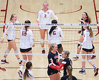 STANFORD, CA - November 4, 2018: Jenna Gray, Audriana Fitzmorris, Tami Alade, Meghan McClure, Morgan Hentz, Kathryn Plummer at Maples Pavilion. No. 2 Stanford Cardinal defeated the Utah Utes 3-0.