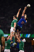 Yoann Maestri of France fails to claim the ball at a lineout. Rugby World Cup Pool D match between France and Ireland on October 11, 2015 at the Millennium Stadium in Cardiff, Wales. Photo by: Patrick Khachfe / Onside Images