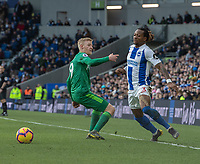 Brighton & Hove Albion's Gaetan Bong (right) vies for possession with Watford's Will Hughes (left) <br /> <br /> Photographer David Horton/CameraSport<br /> <br /> The Premier League - Brighton and Hove Albion v Watford - Saturday 2nd February 2019 - The Amex Stadium - Brighton<br /> <br /> World Copyright © 2019 CameraSport. All rights reserved. 43 Linden Ave. Countesthorpe. Leicester. England. LE8 5PG - Tel: +44 (0) 116 277 4147 - admin@camerasport.com - www.camerasport.com