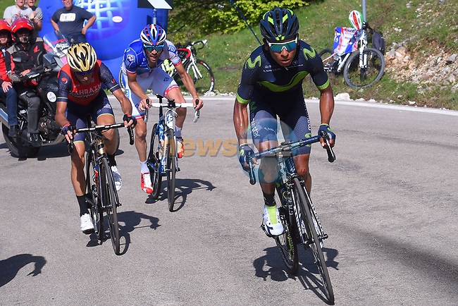 Nairo Quintana (COL) Movistar Team attacks Vincenzo Nibali (ITA) Bahrain-Merida and Thibaut Pinot (FRA) FDJ near the end of Stage 9 of the 100th edition of the Giro d'Italia 2017, running 149km from Montenero di Bisaccia to Blockhaus, Italy. 14th May 2017.<br /> Picture: Pool/Tim De Waele | Cyclefile<br /> <br /> <br /> All photos usage must carry mandatory copyright credit (&copy; Cyclefile | Pool/Tim De Waele)