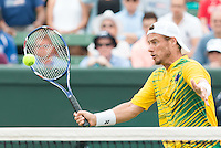 March 5, 2016: Lleyton Hewitt of Australia in action against Mike and Bob Bryan of USA during the doubles match of the BNP Paribas Davis Cup World Group first round tie between Australia and USA at Kooyong tennis club in Melbourne, Australia. Photo Sydney Low
