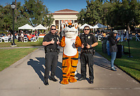 Campus Safety and Oswald<br /> Explore Occidental - Fall Preview Day, Friday, November 9, 2018.<br /> Fall open house to give prospective students and their families the opportunity to explore Occidental with tours of campus, student and faculty-led discussions, the ability to sit in on a class, and to learn what it means to be an Oxy Tiger.<br /> (Photo by Marc Campos, Occidental College Photographer)