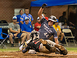 MERIDEN,  CT-072919JS11-- Cheshire catcher Andrew DeClement (22) makes a diving tag to get Naugatuck's Nick Delucia (44) out at home while trying to score during their American Legion baseball tournament game  Monday at Ceppa Field in Meriden. <br /> Jim Shannon Republican-American