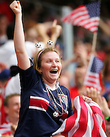 USA fan react to Clint Dempsey goal. Ghana defeated the USA 2-1 in their FIFA World Cup Group E match at Franken-Stadion, Nuremberg, Germany, June 22, 2006.