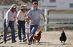 Event organizers help Trinity Kennedy, 3, and Garrett Recob, 11, during the chicken races Friday, Sept. 10, 2010, in the 51st Annual Virginia City International Camel Races in Virginia City, Nev..Photo by Cathleen Allison
